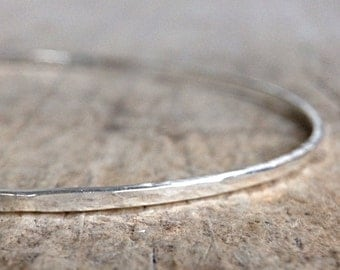 Hammered Bangle, Hammered Sterling Silver Bracelet, Silver Bangle Bracelet, Thin Bangle, Gifts For Her, Boho Luxe Jewelry, Mother's Day