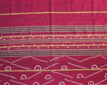 Naga tribal blanket Nagaland burgundy cloth  shell ornaments 64 inch x 35 inch Hill tribes