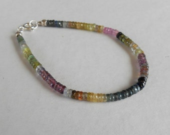 Genuine Madagascar multi color Sapphire rondelle faceted bead bracelet 32 CTS with silver 925 clasp / 7 inch