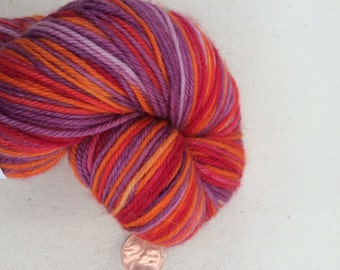 Red, Orange and Purple Self Striping Sock Yarn Superwash Merino Sport Weight
