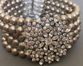 Taupe Pearl Bridal Bracelet with Clear or AB Rhinestone in Platinum Swarovski Pearls 5 multi strands wedding mother of the bride jewelry