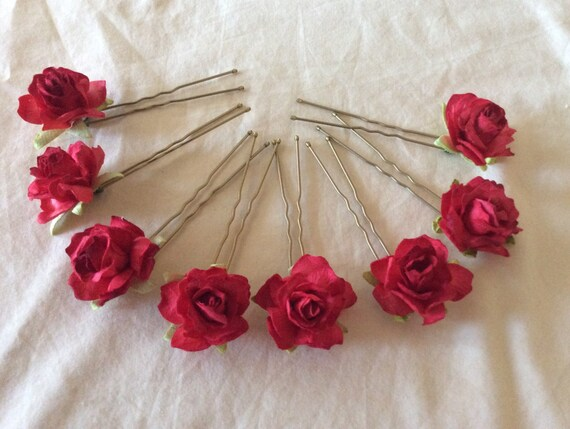 Red Rose Hairpins x 8. Wedding, Bridal, Regency, Victorian