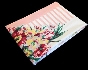 Vintage Cotton Tablecloth Peach Pink Yellow Flowers, Vintage Linens Floral Print Tablecloth Craft Sew Fabric Supplies Pillow Curtain Making