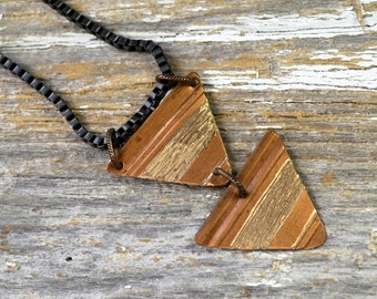Triangle Geometric Upcycled Copper Hand Engraved Necklace: Mehndi Design on Reclaimed Spring Bronze Weatherstripping - ReaganJuel