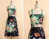 Black Floral Dress M • Cotton Dress with Pockets • Cotton Midi Dress • Floral Cotton Dress • 80s Floral Dress • Black Midi Dress | D627