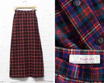60s Pendleton Skirt XS/S • Wool Maxi Skirt with Pockets • Plaid Wool Skirt • Plaid Maxi Skirt | SK362