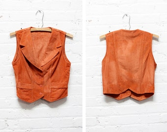 70s Orange Vest S/M • Boho Vest with Notched Collar • Fitted Women's Waistcoat | T336