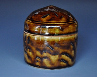 Dark Umber Ceramic Jar Pottery Ceramic Stoneware Jar Small Handmade Jar A