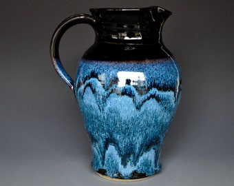 Blue Pottery Pitcher Ceramic Pitcher Stoneware Pitcher Handmade Pitcher Vermont Jug A
