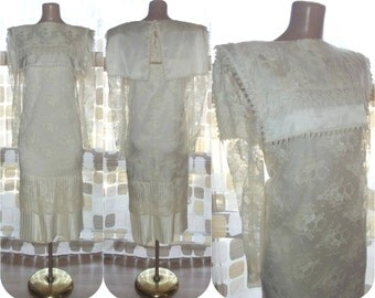 Vintage 80s Dress | 1980s Lace Dress | Ivory Lace | Drop Waist | McClintock | Party Dress | Sheer Illusion | 20s Flapper Style | Size 10