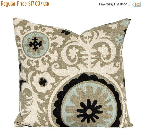 SALE Decorative Throw Pillow Covers, Toss Pillows, Sofa Pillows, Couch Pillows, Suzani in Stone Denton by Premier Prints Black Pillows