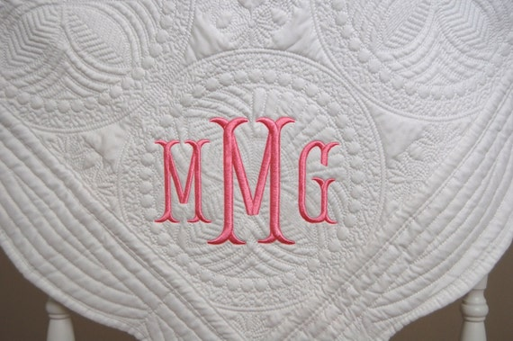 Baby Gift Quilt : New baby gift monogram quilt baptism