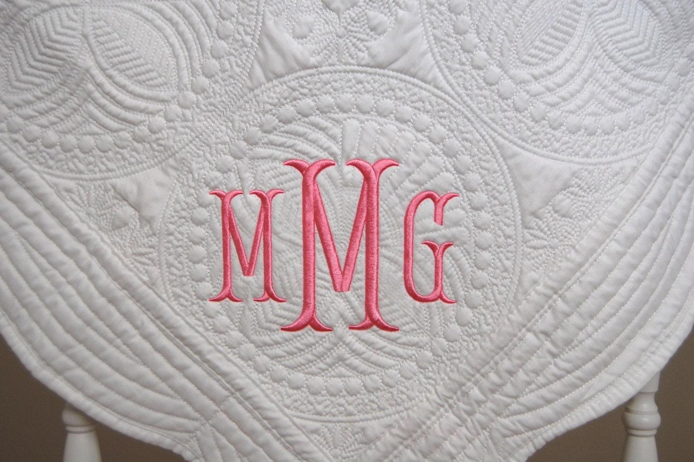 Baby Gift Monogram : New baby gift monogram quilt baptism