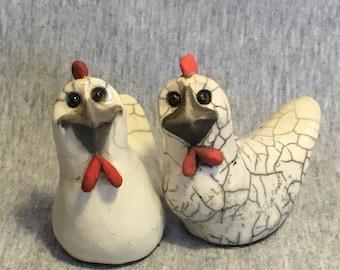 Smiles Unlimited Chicken Hen ceramic raku sculpture