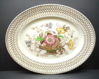Vintage Serving Platter , Bonnie-Dundee Pattern , Myott and Sons Dish, Made In England,