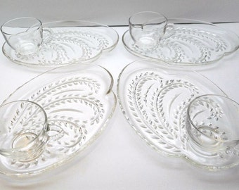 Vintage Homestead Snack Set By Federal Glass Company