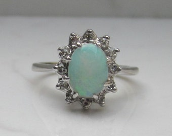 Vintage 14k Solid White Gold Natural White Opal and Diamond Halo Ring, Size 5