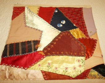 "Lovely Embroidered Silk Antique Crazy Quilt Top Piece - 20"" x 19"" - Embroider and Embellish to Make Your Own Heirloom or RePurpose As Is"