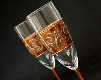 Wedding Glasses, Copper Glasses, Champagne Glasses, Toasting Flutes, HAND PAINTED, set of 2