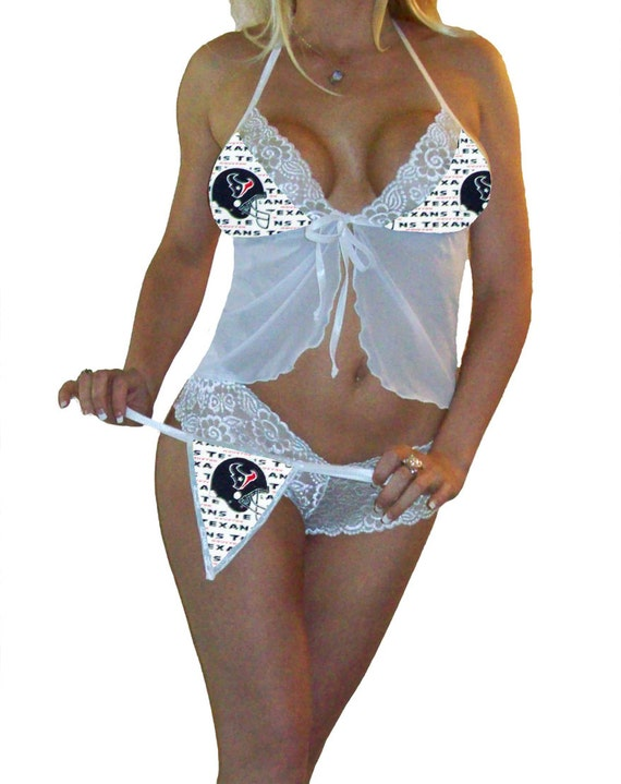 NFL Lingerie Houston Texans Sexy White Cami Top and Lace Booty Shorts Set Plus FREE Matching G-String Thong Panty Bridal Shower Bachelorette