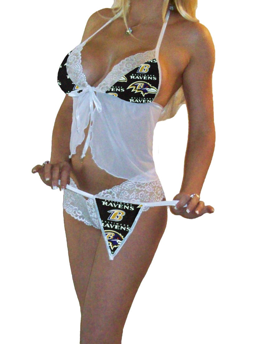 nfl lingerie baltimore ravens white cami top and lace