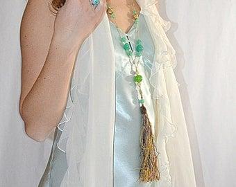 SALE Thru July Vintage Soft Flowing Ruffled Ivory Silk Shawl Wrap Scarf