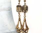 Art Deco Earrings, Black DIamond Earrings, Drop Earrings, Dangle Earrings, Brass Earrings, Vintage Antique Earrings, Estate Style Earrings