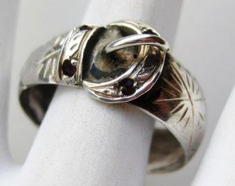 Vintage 40s Fine 833 Silver Jeweled Garnet Belt Ring Band size 9 1/2
