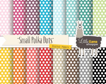 SALE: Polka Dots Digital Papers, Dot Digital Paper Back, Polka Dot Backgrounds, Small Polka Dot Patterns, Commercial Use