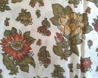 Brown, Yellow and Orange Floral Vintage Textured Cotton Fabric 3 Yards X0584