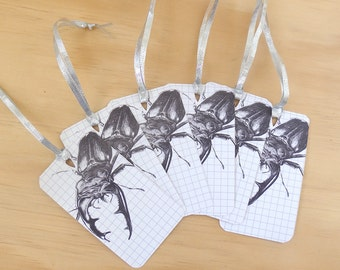 6 Gift tags silver ribbon, stag beetle drawing, gift tags, swing tags, nature stationery, bug gift wrap, beetle card, woodland art,