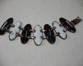 Vintage Enamel on Copper Oval Link Bracelet