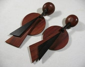 Vintage Large and Bold Wood Earrings