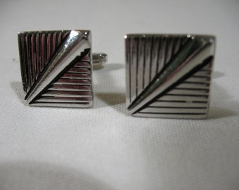 Art Deco Style Silver Tone Cuff Links