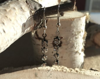 Rhinestone silver gunmetal earrings