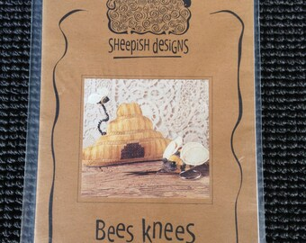 Sheepish Designs Bees Knees Counted Cross Stitch Pattern Bumble Bee Hive