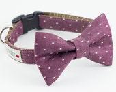 Chambray Burgundy Dot Dog Bowtie Collar
