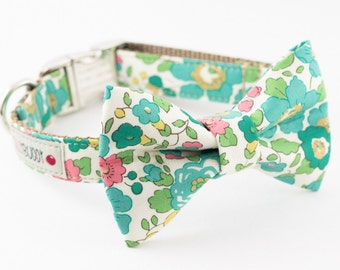 Seafoam Green Floral Dog Bowtie Collar - Liberty of London