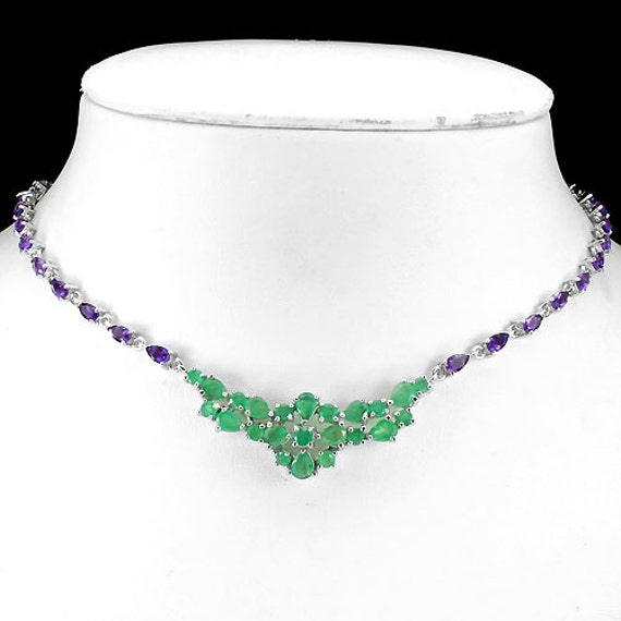 """Genuine Green Emeralds, Purple Amethyst gemstones, 14kt White Gold Necklace 19 1/2"""""""