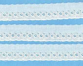 Heirloom Sewing Supplies - White Swiss Embroidered Edging - Doll Dress Supplies
