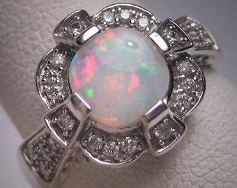 Vintage Australian Opal Diamond Ring Wedding White Gold Art Deco Engagement