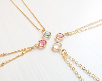 Birthstone Necklace | Dainty Birthstone Necklace | Birthstone Jewelry | Gift for Mom | August Birthstone | Gift for Her | Simple Necklace