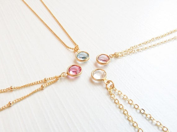 Simple Birthstone Necklace | Birthstone Layering Necklace | Tiny Birthstone Necklace | Dainty Birthstone  Necklace | Zodiac Stone Jewelry