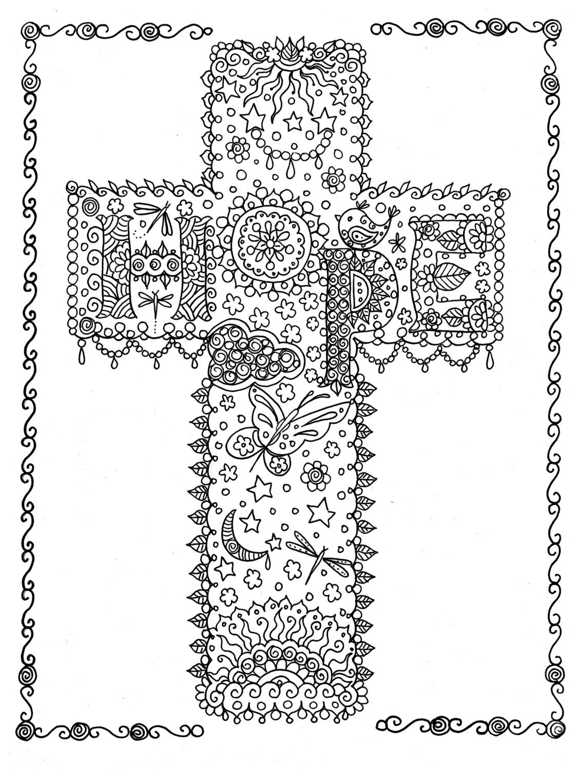 HOPE Cross Digital Coloring Page