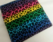 Ladies ERainbow Leopard Fabric Print Checkbook Cover Coupon Holder Clutch Purse Billfold Ready Made