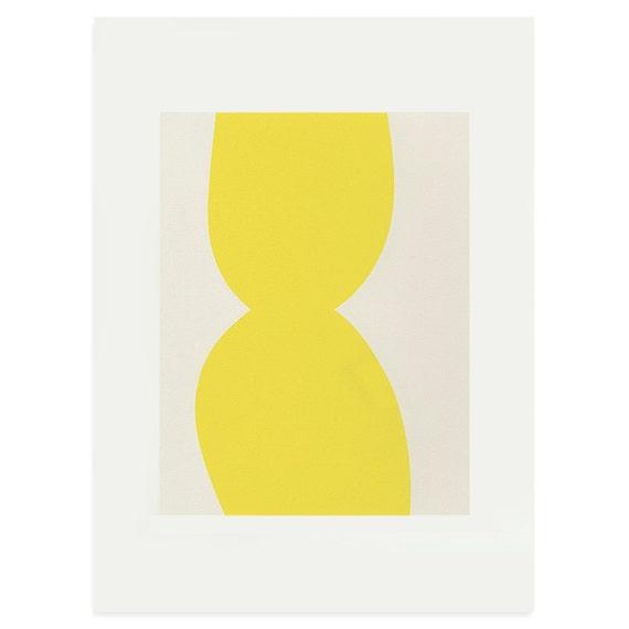 Minimalist screenprint - abstract yellow original art, simple modern art on quality Fabriano paper. Scandinavian home.