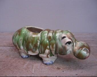 vintage ceramic pottery / drip glaze hippopotamus planter / figural hippo flower pot