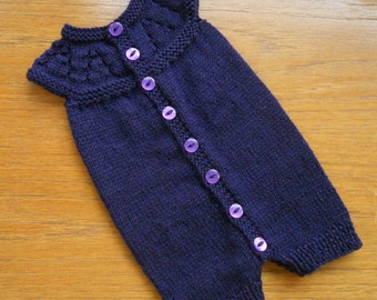 Preemie or small baby romper suit,/baby grow/all in one, hand knitted in purple yarn, chest approx 12 ins. For a boy or girl