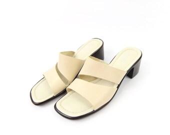 VINTAGE Double Strap Sandals Cream Leather Size 8.5