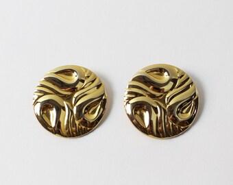VINTAGE 1980s Big Earrings Gold Circle Pierced